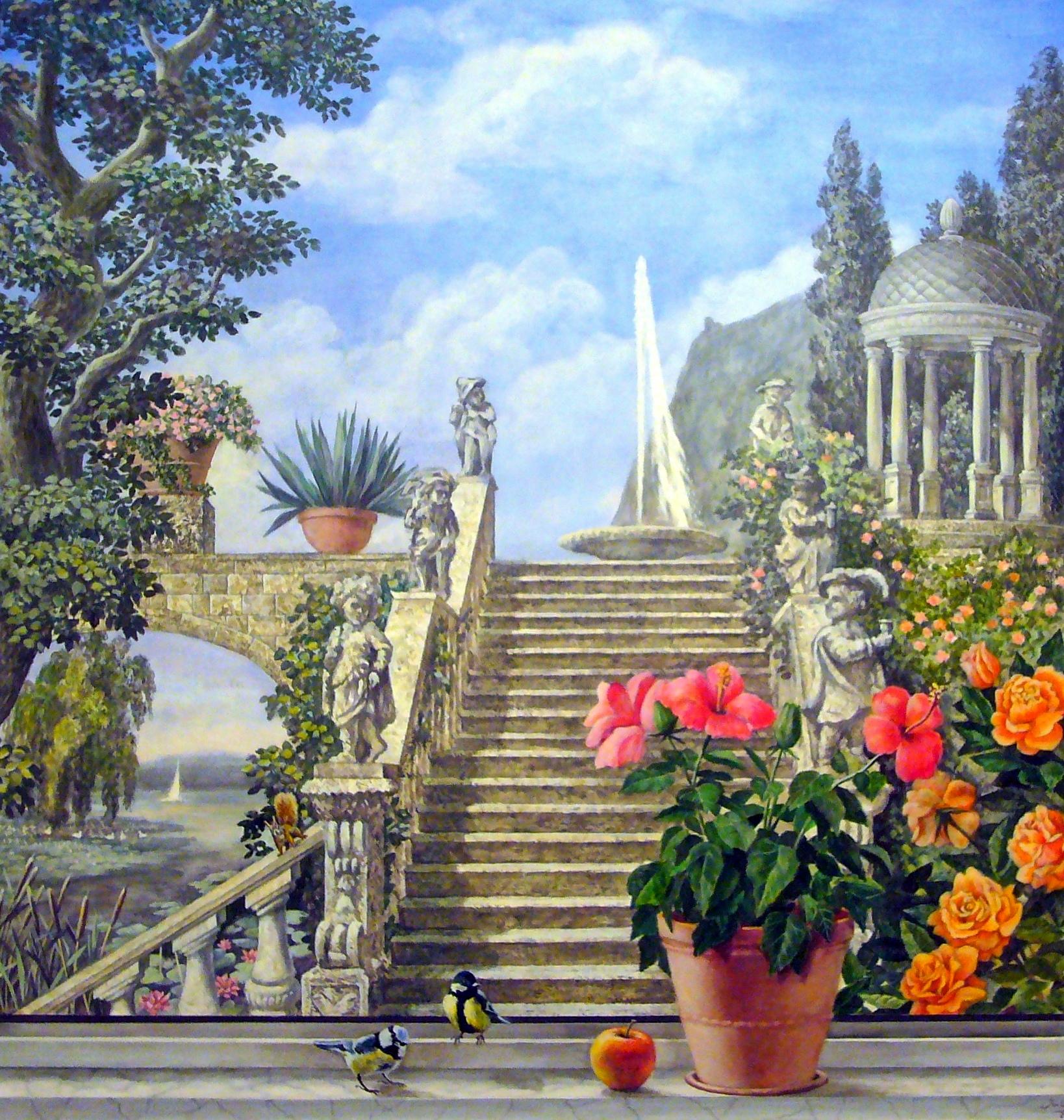 Juliyart fensterausblick zum italienischen park 2012 - Wandmalerei berlin ...